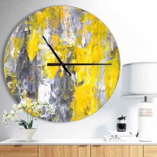Designart 'Grey and Yellow Abstract Pattern' Oversized Modern Wall CLock