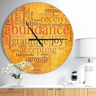 Designart 'Abundance Gratitude Joy Heart' Oversized Quote Wall CLock
