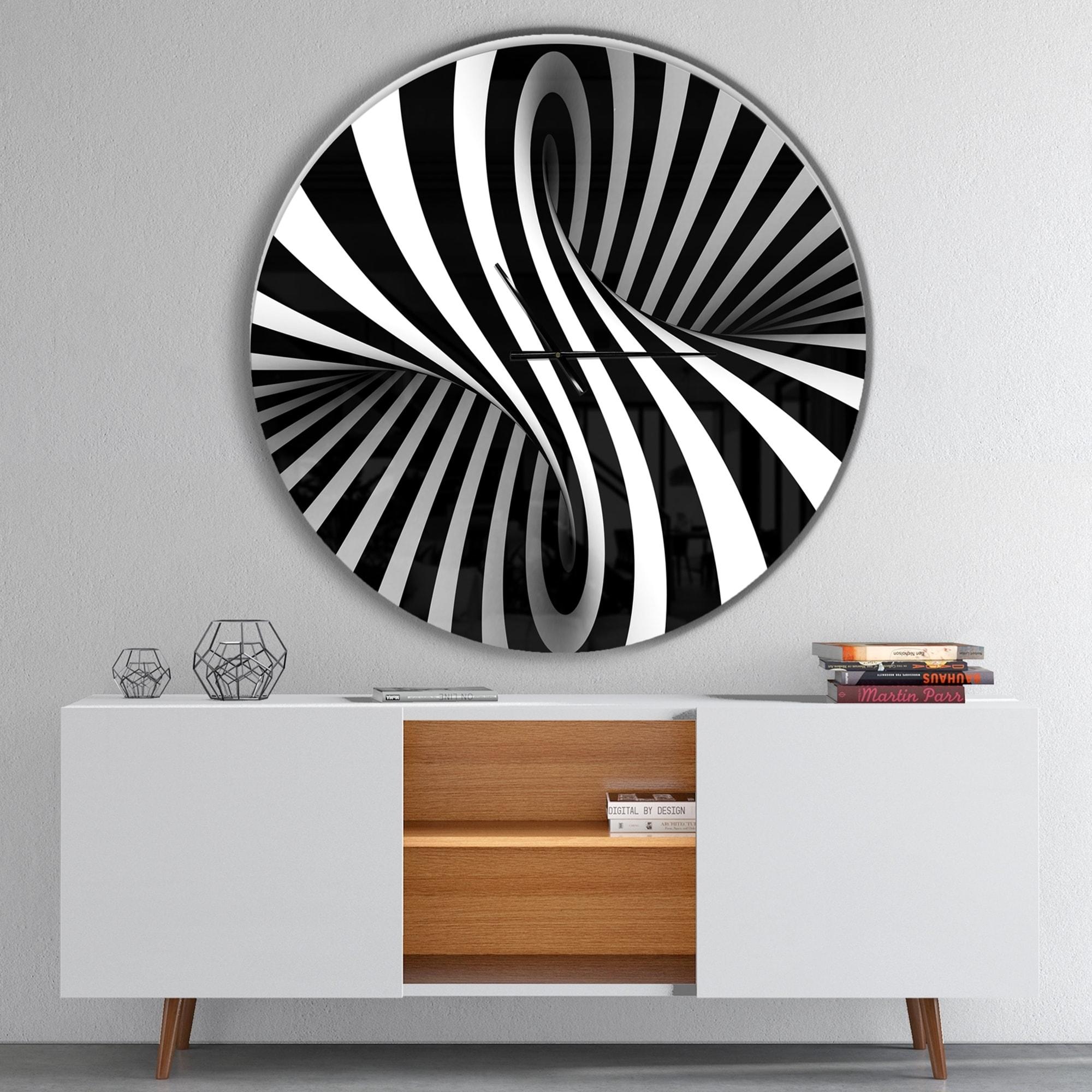 Clocks Modern Wall Clock Contemporary Kitchen Decor Black And White Abstract Accent Home Furniture Diy Quatrok Com Br