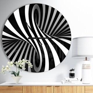 Designart 'Black and White Spiral' Oversized Modern Wall CLock