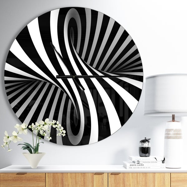 Designart 'Black and White Spiral' Oversized Modern Wall CLock