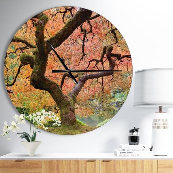 Designart 'Autumn Maple Tree' Oversized Traditional Wall CLock