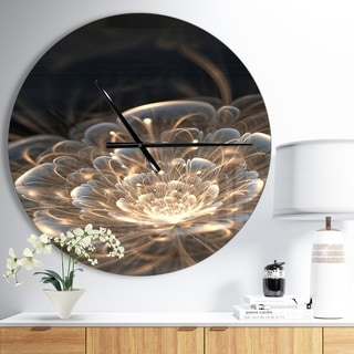 Designart 'Fractal Flower with Golden Rays' Oversized Floral Wall CLock