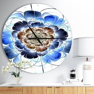 Designart 'Dark Blue Fractal Flower' Oversized Modern Wall CLock