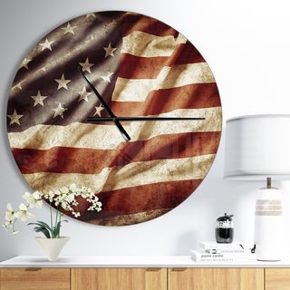 Designart 'American Flag' Oversized Global Wall CLock