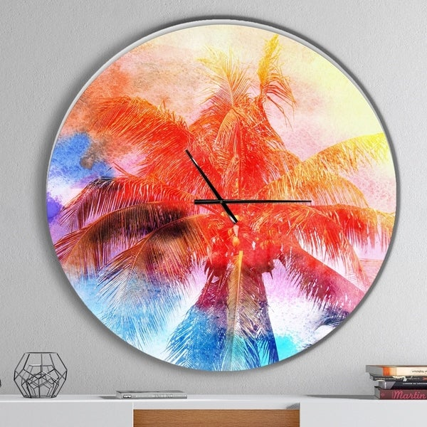 Designart 'Retro Palms Red Watercolor' Oversized Traditional Wall CLock