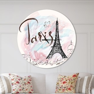 Designart 'Illustration with Paris Eiffel Tower' Oversized French Country Wall CLock