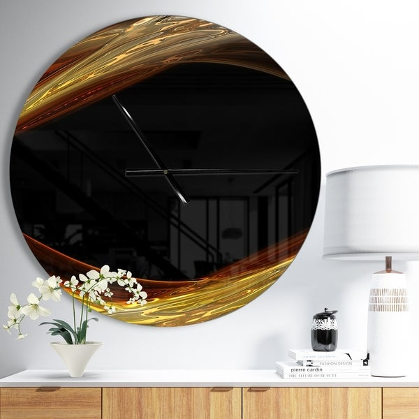 Designart 'Red Golden Shapes in Black' Large Modern Wall CLock