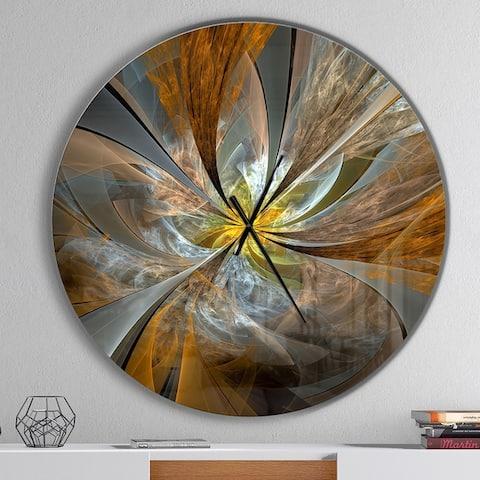 Designart 'Symmetrical Yellow Fractal Flower' Oversized Modern Wall Clock