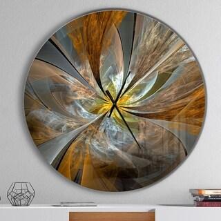 Designart 'Symmetrical Yellow Fractal Flower' Oversized Modern Metal Clock