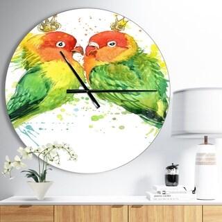 Designart 'Family Parrots' Oversized Traditional Wall CLock
