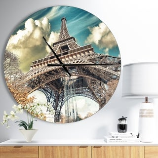 Designart 'Street View of Paris Eiffel Tower' Oversized French Country Wall CLock