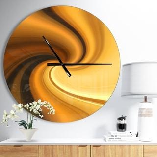 Designart 'Brown Waves Curved Texture' Oversized Modern Wall CLock
