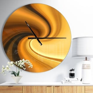 Designart 'Brown Waves Curved Texture' Oversized Modern Wall CLock