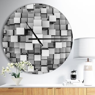Designart 'Black and Grey Cubes' Large Modern Wall CLock