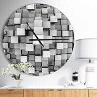 Designart 'Black and Grey Cubes' Oversized Modern Metal Clock