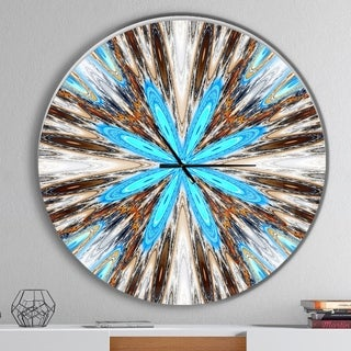 Designart 'Flowers with Radiating Rays' Oversized Modern Wall CLock