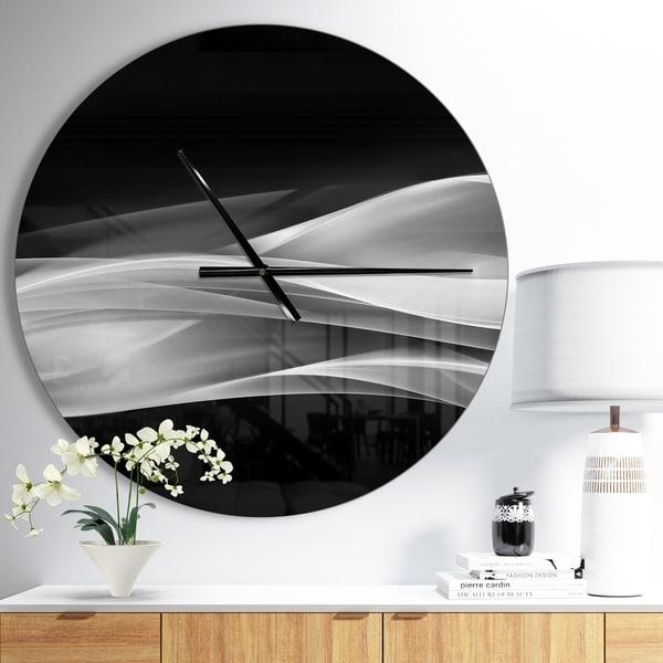 Designart 'Glittering Silver Pattern' Oversized Modern Wall CLock