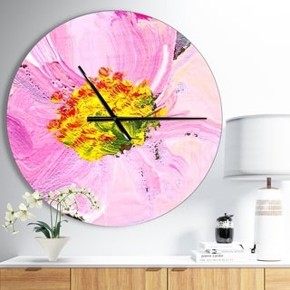 Designart 'Pink Flower Oil Painting' Oversized Traditional Wall CLock