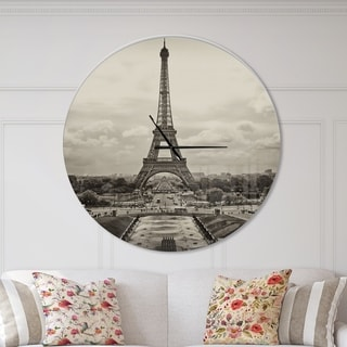 Designart 'Vintage View of Paris France' Oversized French Country Wall CLock