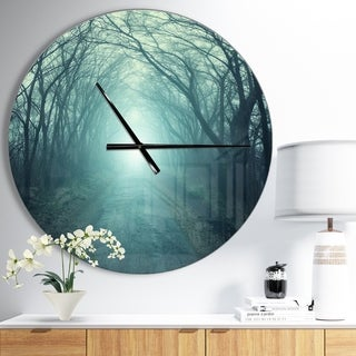 Designart 'Fall Forest Path with Green Light' Oversized Traditional Wall CLock