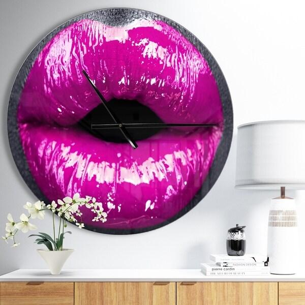 Designart 'Purple Lip Makeup' Oversized Shabby Chic Wall CLock