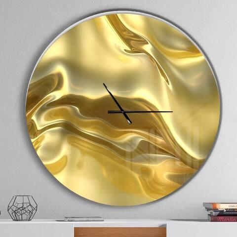 Designart 'Golden Cloth Texture' Oversized Modern Wall CLock