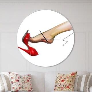 Designart 'Leg Wearing High Heel Red Shoe' Oversized Fashion Wall CLock