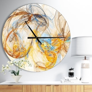 Designart 'Billowing Smoke Yellow' Oversized Modern Wall CLock
