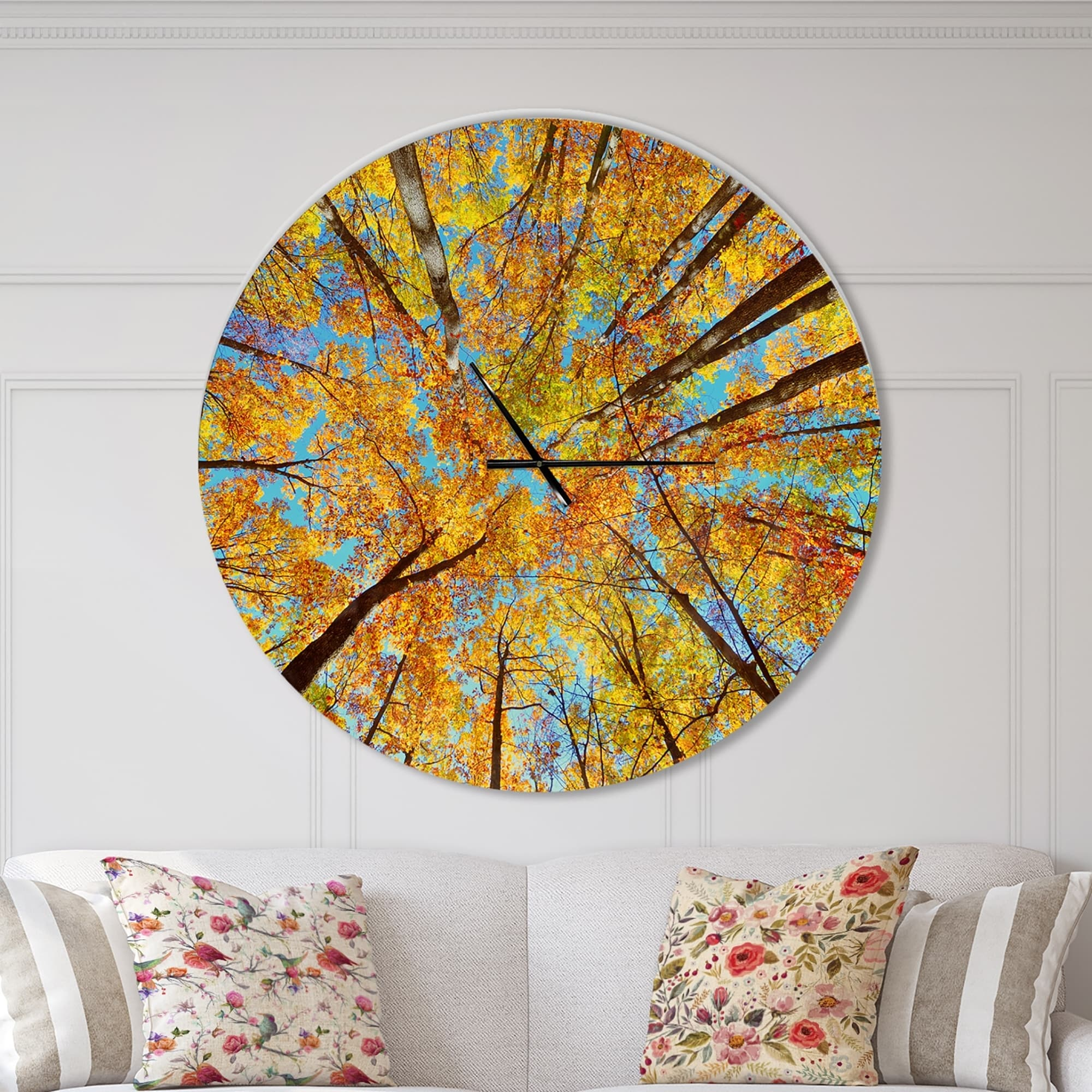 Designart Tree Tops In Autumn Forest Oversized Forest Wall Clock Overstock 23534767