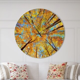 Designart 'Tree Tops in Autumn Forest' Oversized Forest Metal Clock