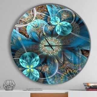 Designart 'Fractal Blue Flowers' Oversized Modern Wall CLock