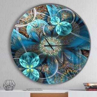 Designart 'Fractal Blue Flowers' Oversized Modern Wall CLock