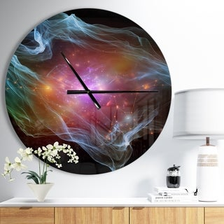 Designart 'Purple Lights of Network' Oversized Modern Wall CLock