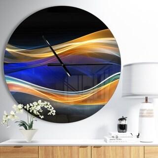 Designart '3D Gold Blue Wave Design' Oversized Modern Wall CLock