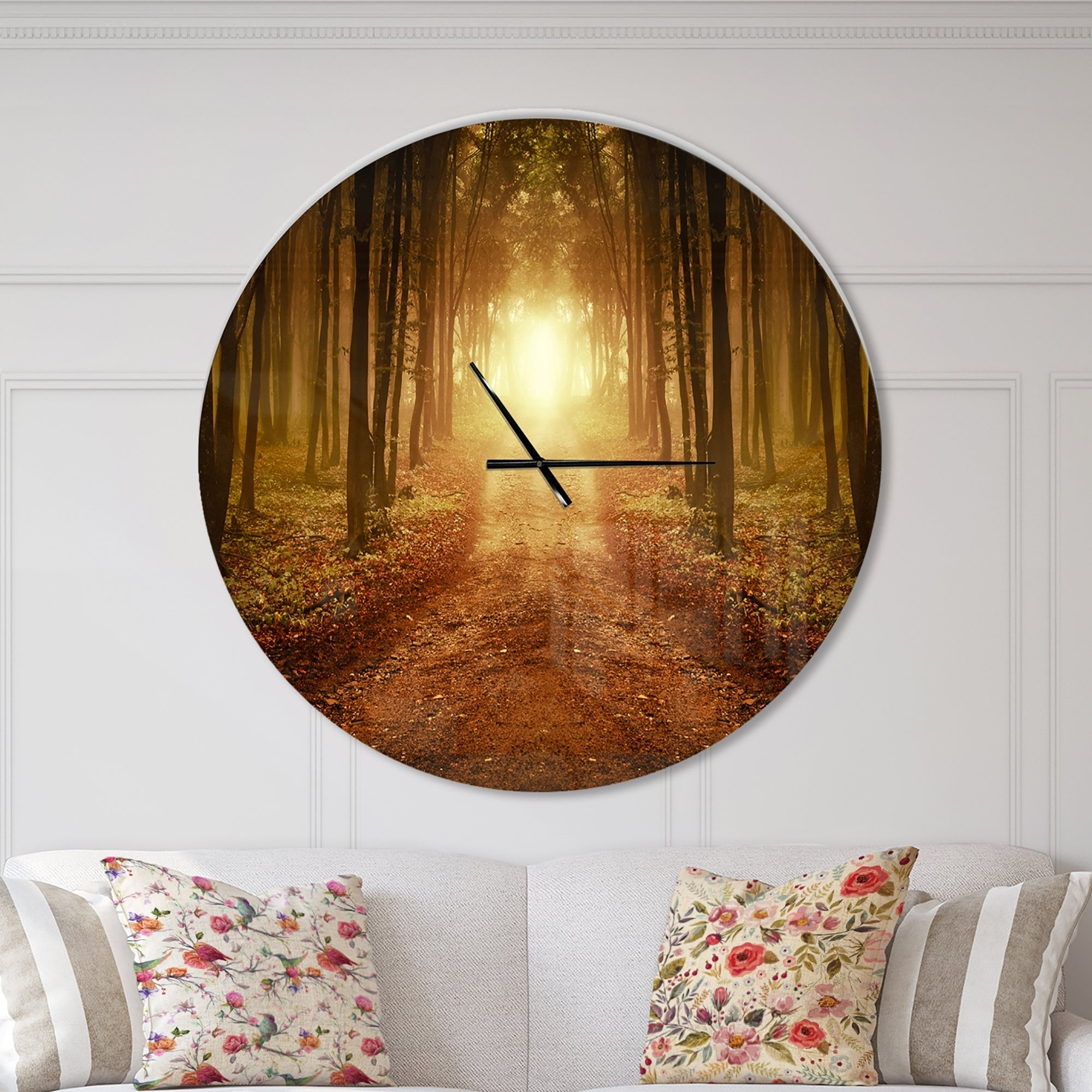 Shop Designart Road In Symmetrical Forest Oversized Traditional Wall Clock On Sale Overstock 23534780