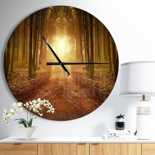 Designart 'Road in Symmetrical Forest' Oversized Traditional Metal Clock