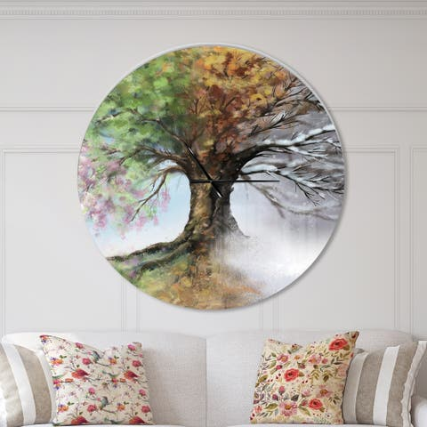 Designart 'Tree with Four Seasons' Oversized Traditional Wall CLock