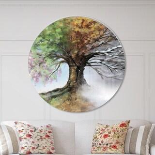 Designart 'Tree with Four Seasons' Oversized Traditional Metal Clock
