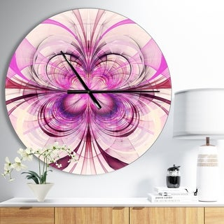 Designart 'Purple Fractal Flower Pattern' Oversized Modern Wall CLock