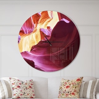 Designart 'Purple in Antelope Canyon' Oversized Modern Wall CLock