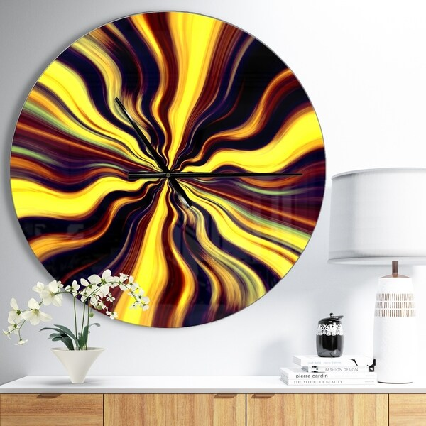 Designart 'Yellow Purple Black Fantasy' Oversized Modern Wall CLock