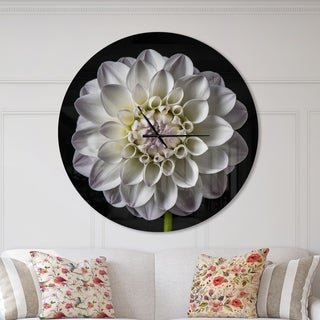 Designart 'Isolated Dahlia Flower in Black' Oversized Floral Metal Clock