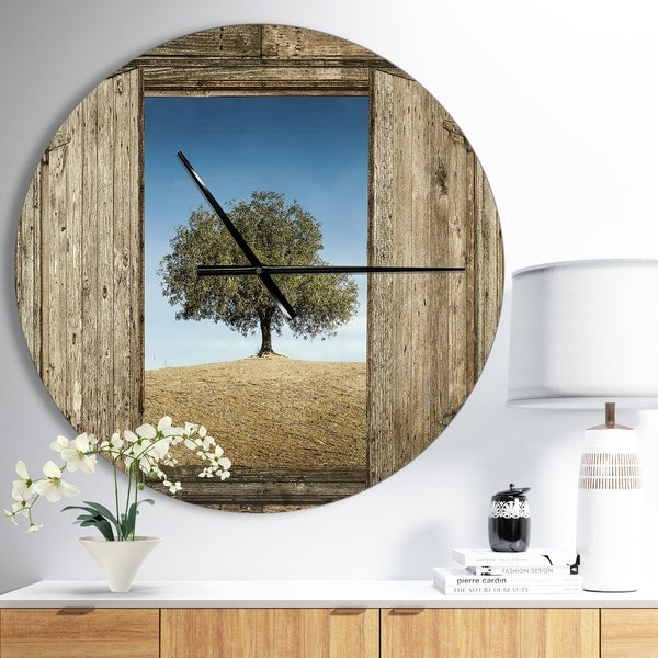 Designart 'Window Open To Solitary Tree' Oversized Farmhouse Wall CLock