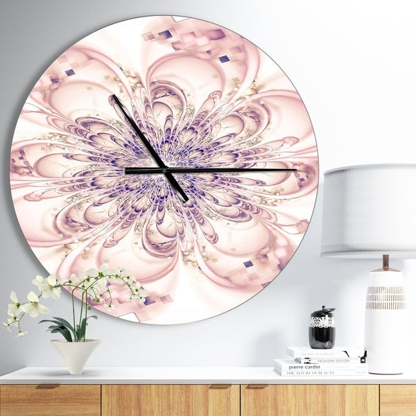 Designart 'Full Bloom Fractal Flower in Pink' Oversized Floral Wall CLock
