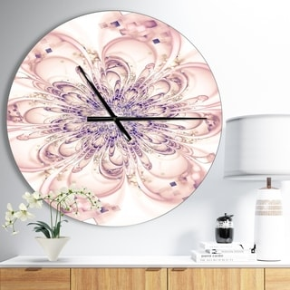 Designart 'Full Bloom Fractal Flower in Pink' Oversized Floral Wall CLock
