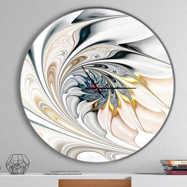 Designart 'White Stained Glass Floral Art' Oversized Modern Metal Clock