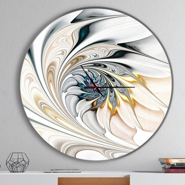 Designart 'White Stained Glass Floral Art' Oversized Modern Wall Clock. Opens flyout.