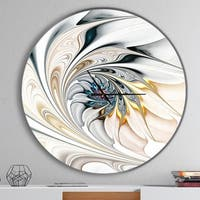 Designart 'White Stained Glass Floral Art' Oversized Modern Metal Clock