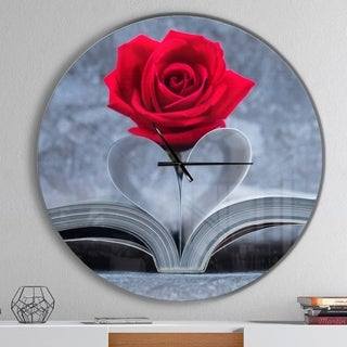 Designart 'Red Rose Inside the Book' Oversized Floral Wall CLock